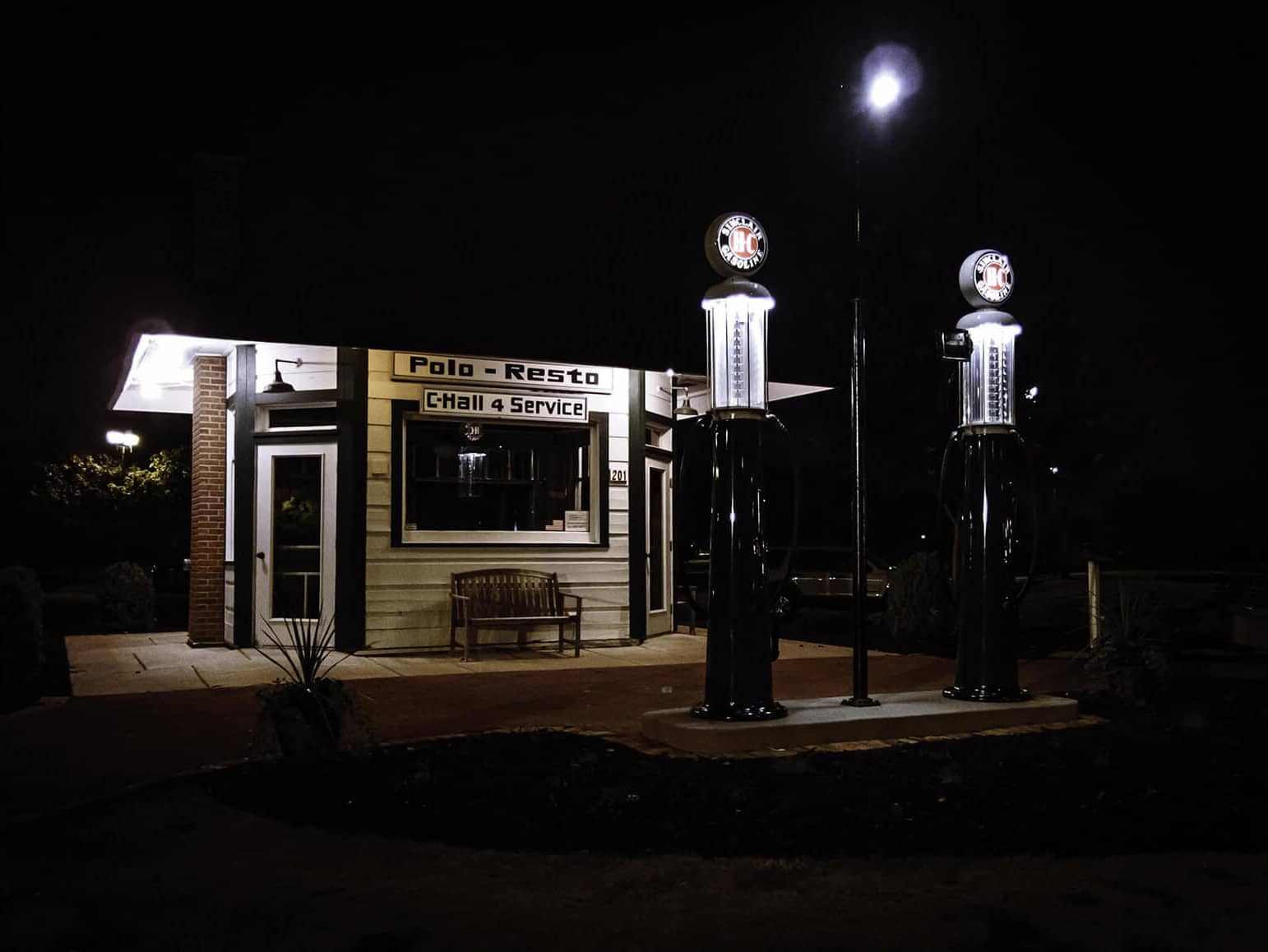 Service station night shot at Voyageur Park in De Pere, Wisconsin