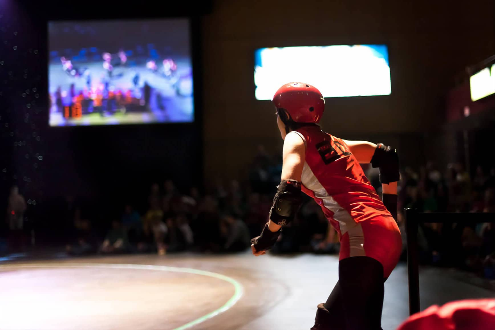 Woman about to enter the roller derby