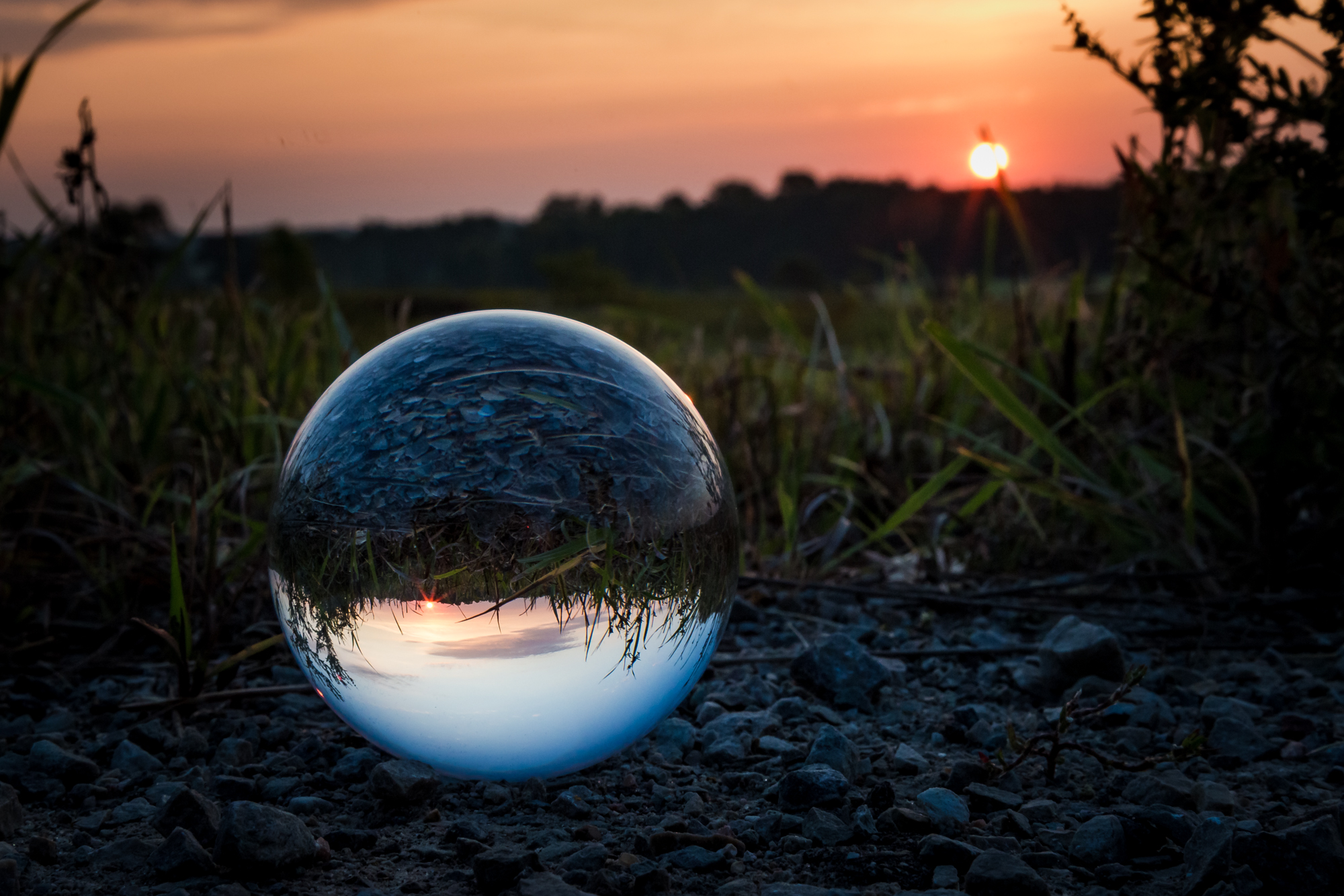 Crystal ball at sunrise